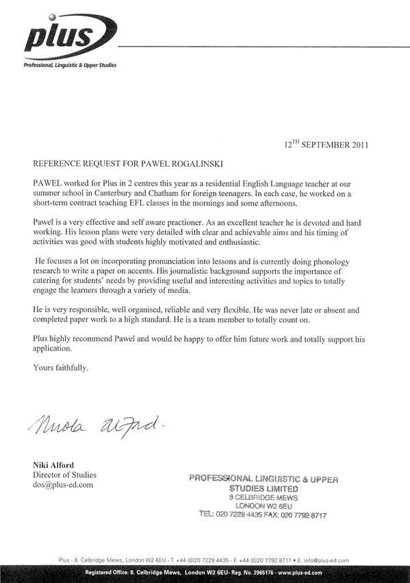 Reference letter from Professional Linguistic and Upper Studies